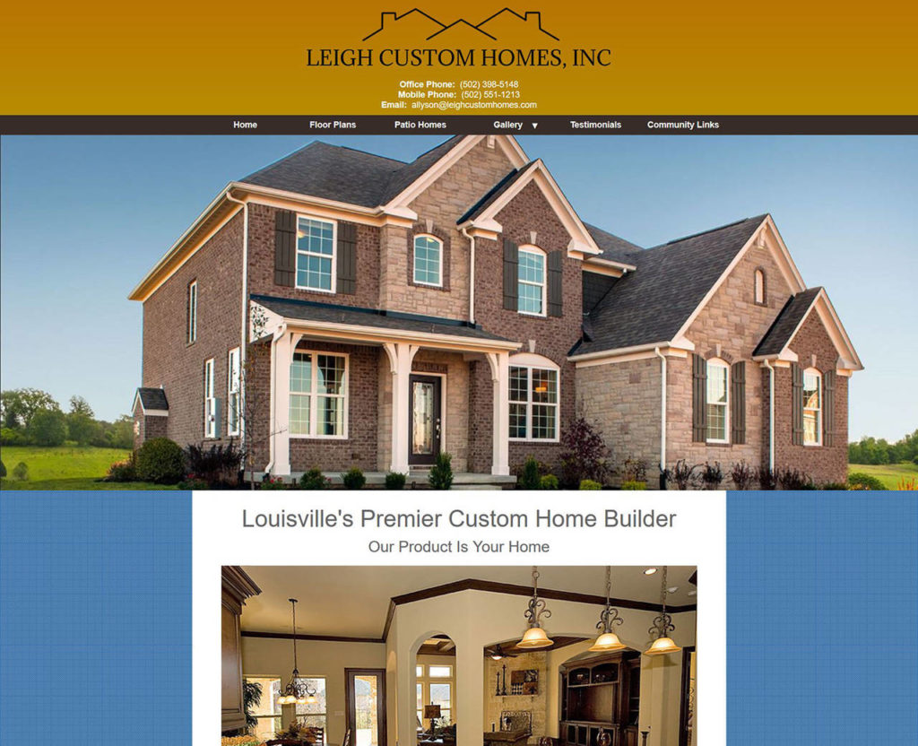 Leigh custom homes website design louisville ky for Louisville home builders